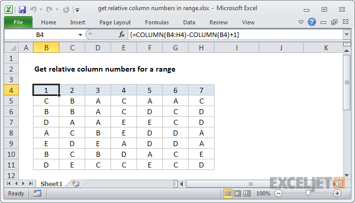 Excel formula get relative column numbers in range also how to use the function exceljet rh