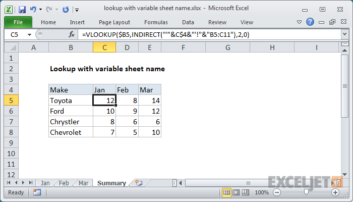 Excel Formula Lookup With Variable Sheet Name Exceljet