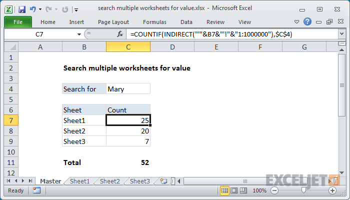 Excel formula search multiple worksheets for value also exceljet rh