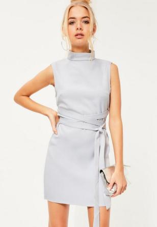 high-neck-tie-waist-shift-dress-grey