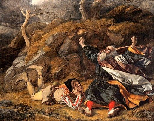 King Lear and the Fool in the Storm by William Dyce [Public domain], via Wikimedia Commons