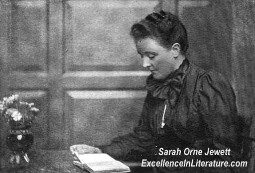Black and white portrait of American author Sarah Orne Jewett, reading from a book. Image from Literary Pilgrimages in New England to the Homes of Famous Makers of American Literature... by Edwin M. Bacon. New York: Silver, Burdett and Company, 1902: p. 129