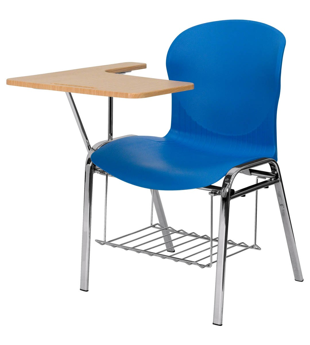 Chair Rack Hercules Series Blue Shell Chair With Right Handed Laminate Tablet Arm And Book Rack