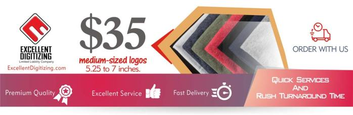 Embroidery Digitizing service - mid sized - digitize logo for embroidery