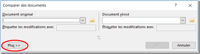 Comparer deux documents word - Activer plus options