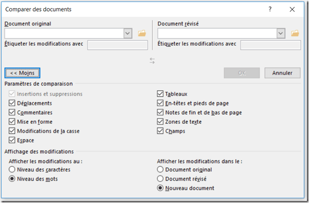 Comparer deux documents word - plus options
