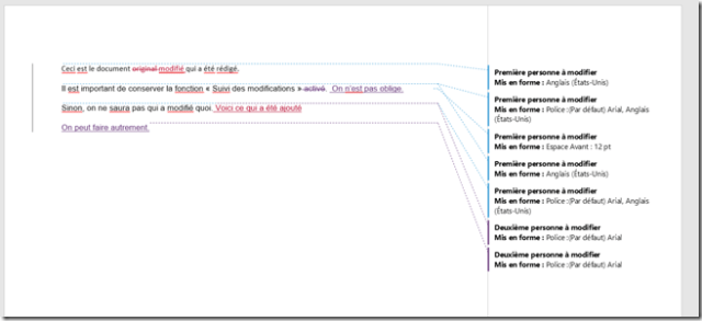 Document modifié - plusieurs modifications