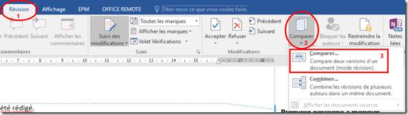 Menu revision - Comparer deux fichiers