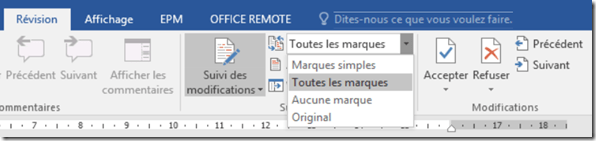 Menu revision - Mode de lecture des modifications