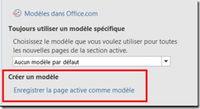 Enregistrer la page active comme modèle OneNote
