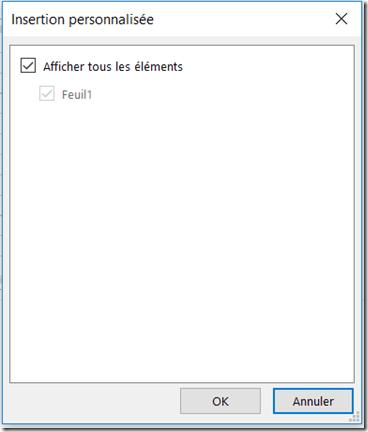 Fichier Excel Inséré Sélection contenu affichable - OneNote