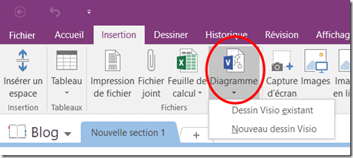 Insertion Fichier Visio - OneNote