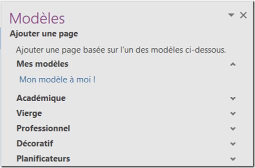 Modèle OneNote - Liste de ses modèles