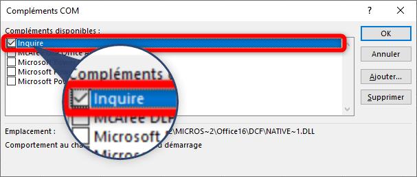 Comparer deux fichiers Excel - Activer le complément Inquire
