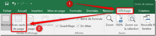 Excel - Mise en page des impressions - Passage en mode avec sauts de page