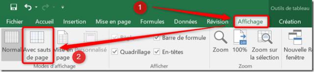 Excel - Passage en mode avec sauts de page