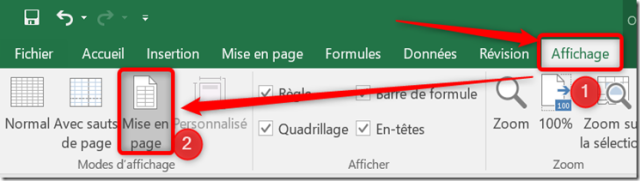 Excel - Zone d'impression - Passage en mode mise en page