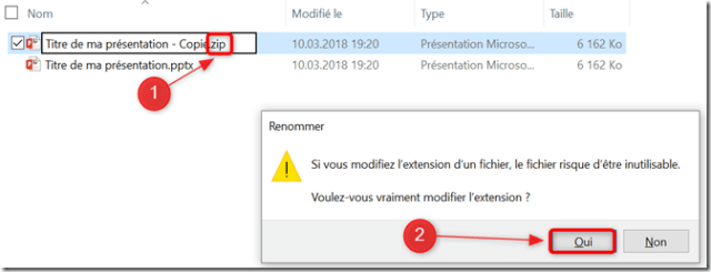 Explorateur - Changement extension pptx zip