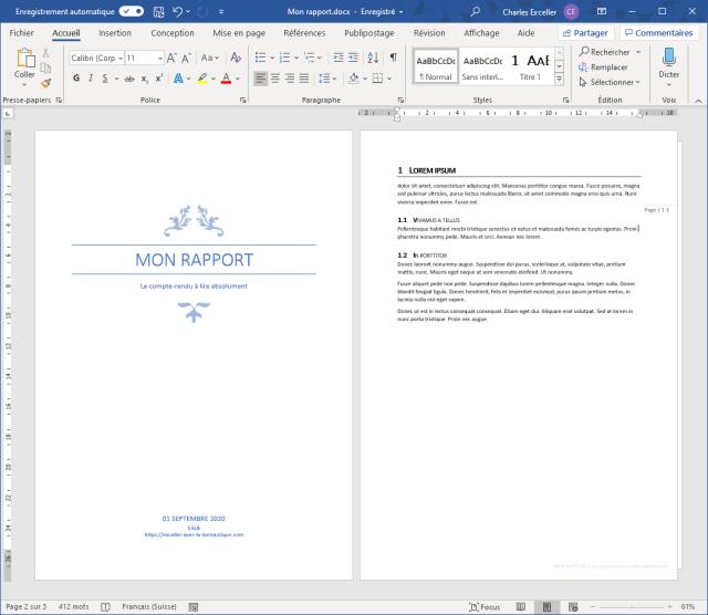 Insérer une table des matières sur Word - Document initial