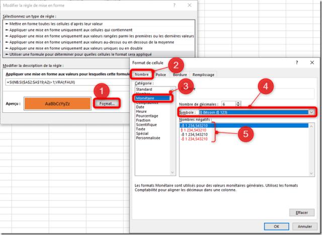 Excel - Menu mise en forme conditionnelle - Format nombre