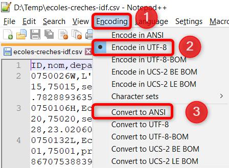 Fichier CSV Excel - Changer encodage Notepad++