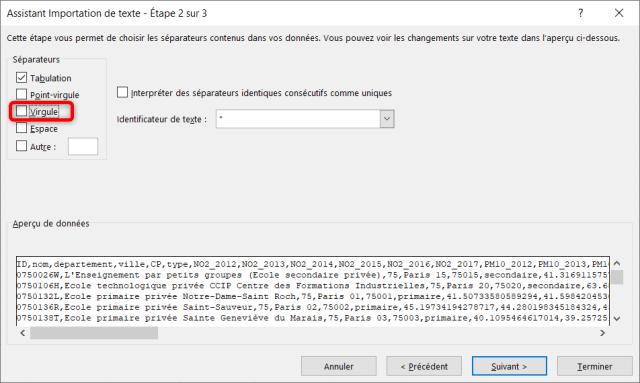 Assistant importation données CSV - Étape 2