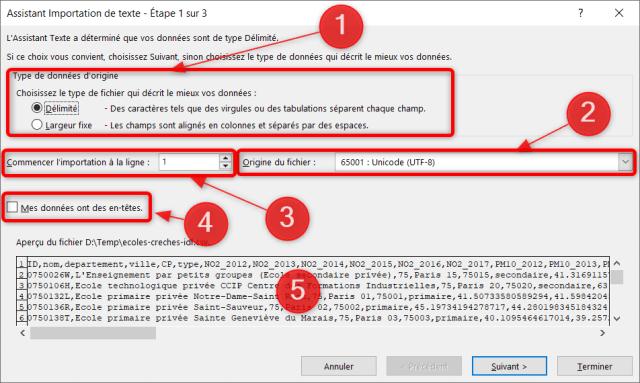 Assistant importation données CSV - Étape 1