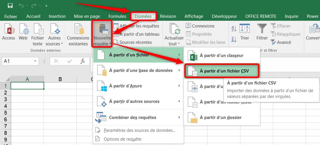 Importer un fichier CSV dans Excel - Récupérer et transformer