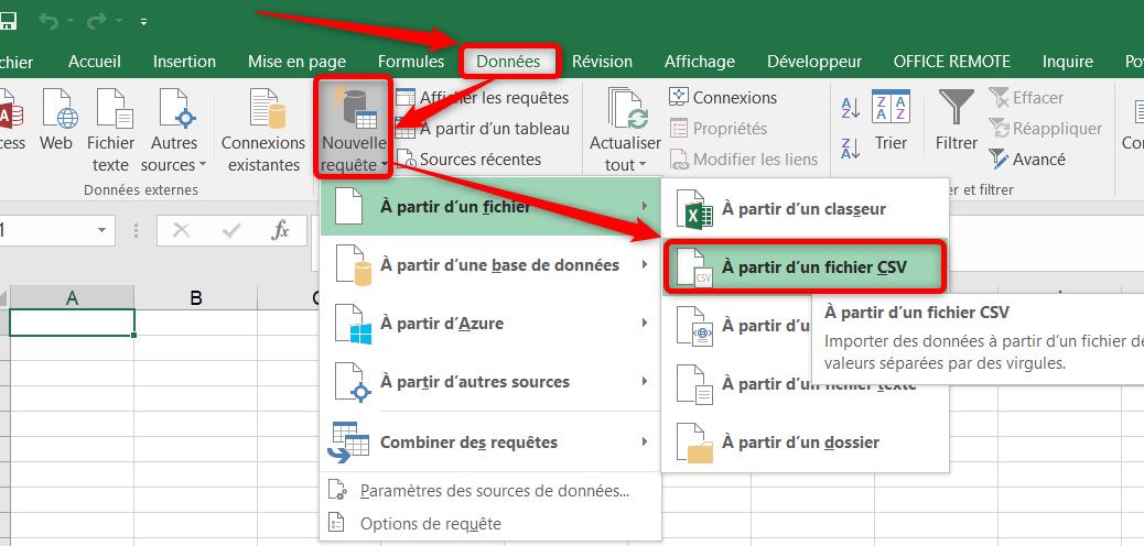 Fichier-CSV Excel Récupérer et transformer
