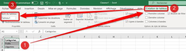 Liste déroulante Excel - Changer le nom du tableau