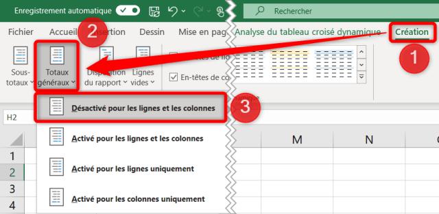 Liste déroulante dynamique Excel - Désactiver les totaux généraux TCD