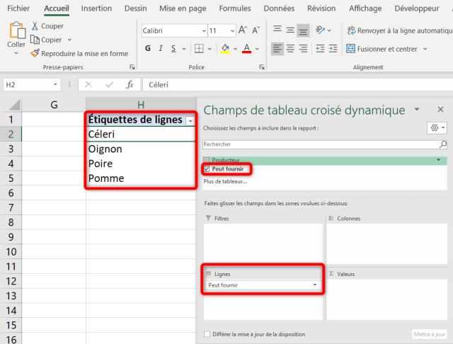 Liste déroulante Excel - Liste dynamique cascade - 1er TCD