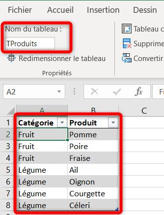 Liste déroulante Excel - Tableau des valeurs