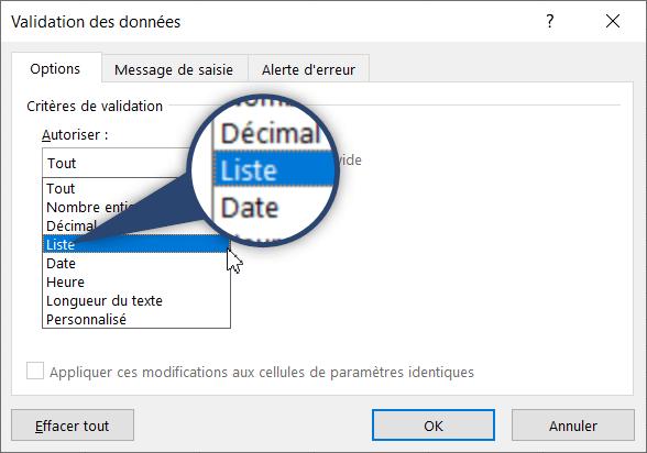 Liste déroulante Excel - Validation des données - Liste