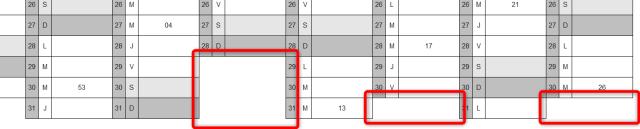 Calendrier Excel 2021 - Affichage fin de mois