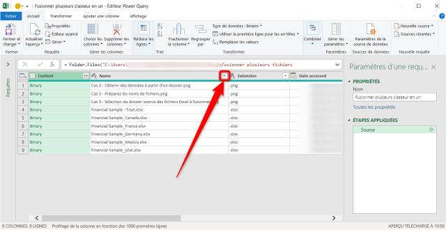 Cas 3 - Filtrer la liste pour sélectionner les fichiers Excel à fusionner - Suite