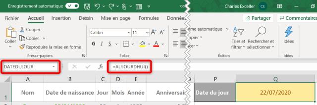 Calculer âge Excel - Dans le futur ou le passé