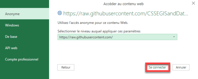 Importation CSV Donnees COVID-19 Web - Se connecter
