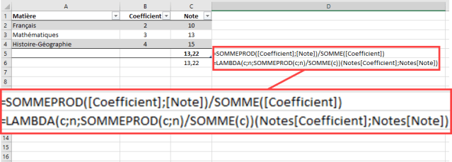 Fonction LAMBDA - Comparaison ecriture fonction