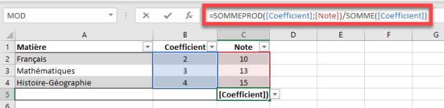 Fonction LAMBDA - Moyenne des notes avec coefficients