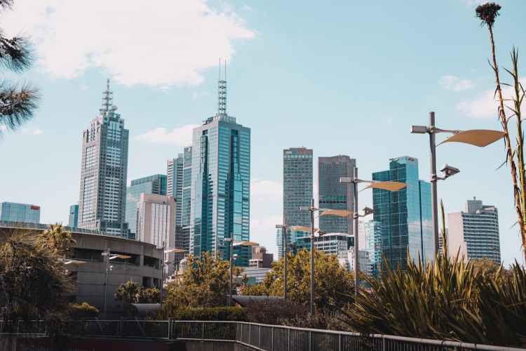 a city skyline under blue sky