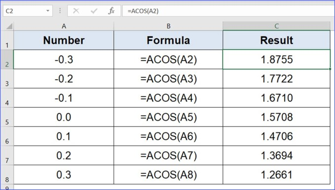 How To Use Acos Function Excelnotes