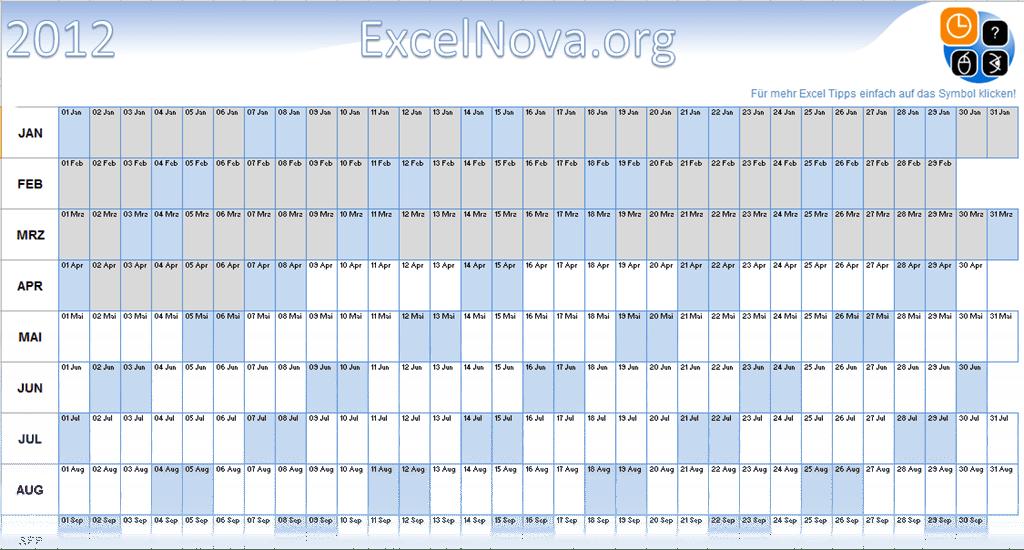 Excel Kalender mit einer einzigen Formel   ExcelNova