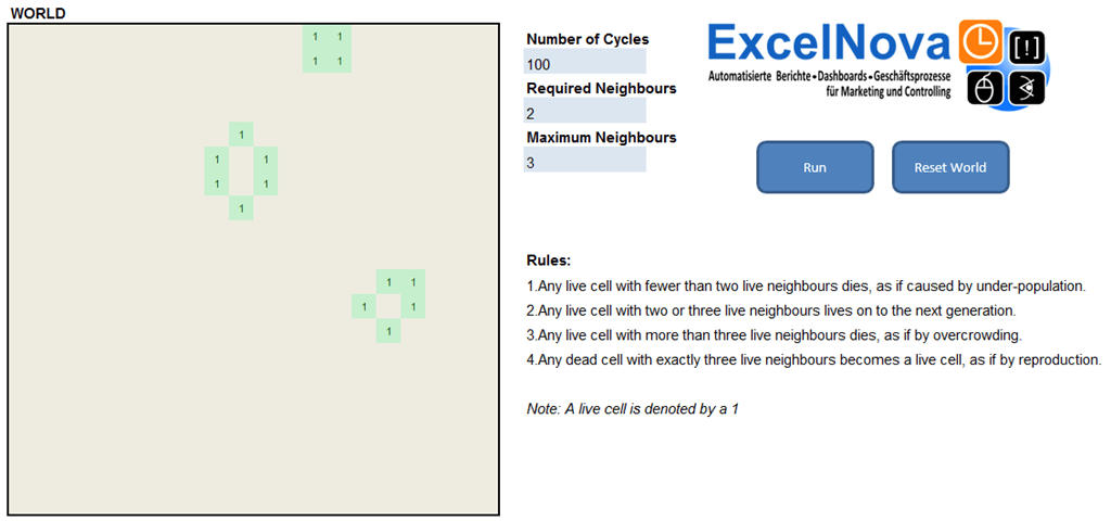 Excel VBA Simulation: The Game of Life – ExcelNova