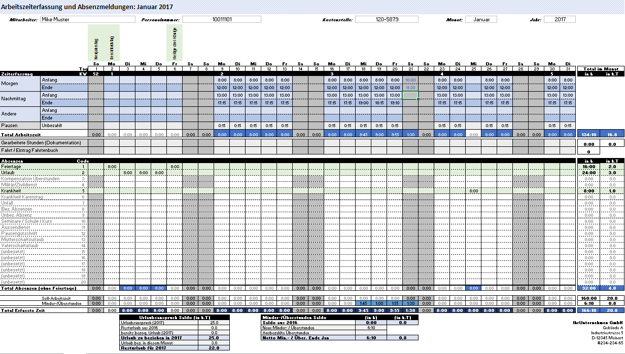 Schön Zeiterfassungsvorlage In Excel Ideen - Beispiel Business ...