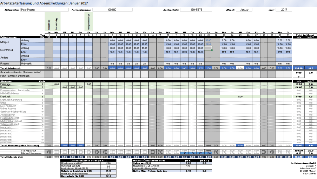 Excel working time and absence recording template
