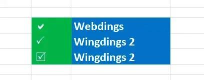 Palomita en símbolos de Excel