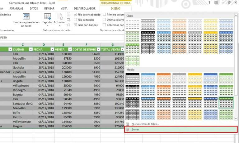 Borrar estilo de una tabla en Excel