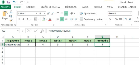 Como sacar el promedio en Excel