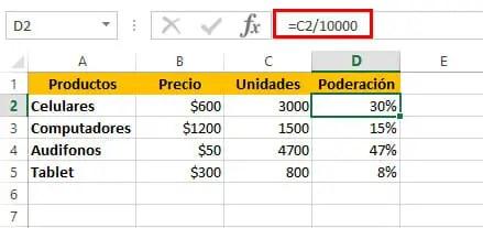 Calcular promedio ponderado en Excel